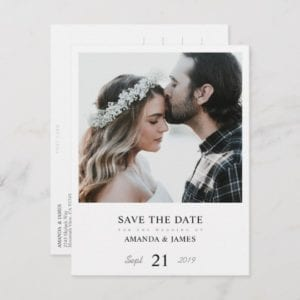 modern minimalist photo wedding save the date postcard with white borders