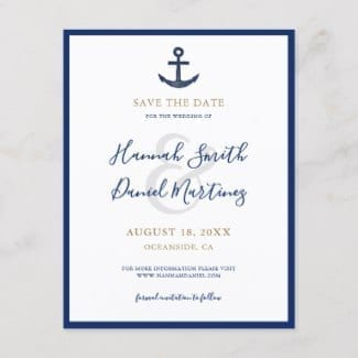 Nautical theme boat wedding save the date postcard in navy blue and gold with anchor