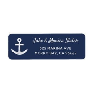 nautical return address label with white anchor and text on a navy blue base