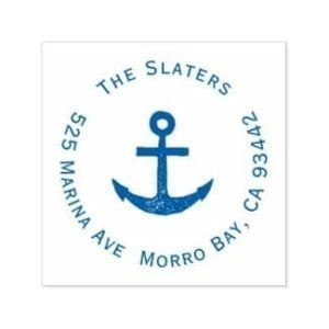 Blue Nautical themed round return address stamp with family name and anchor