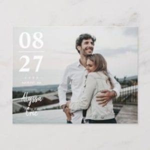simple, modern horizontal photo wedding save the date postcard