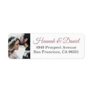 wedding return address label with photo and names in rose gold
