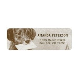 return address label with a vintage dog carrying a letter illustration