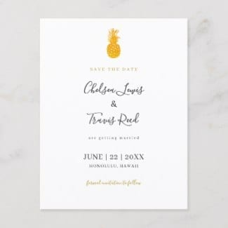 Hawaiian wedding pineapple motif wedding save the date postcard