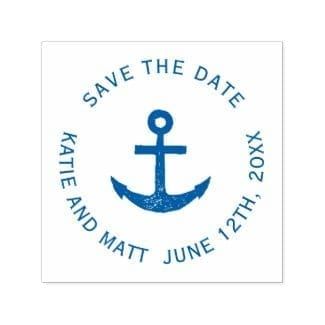 round nautical wedding save the date self-inking stamp with simple, rustic blue anchor