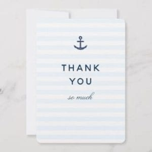 Nautical themed thank you card with blue stripes and anchor