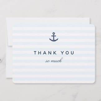Nautical horizontal thank you flat card with navy blue anchor and stripes