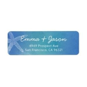 return address label with ocean blue watercolor base and starfish motif