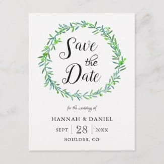 Simpple wedding save teh date postcard with green olive wreath