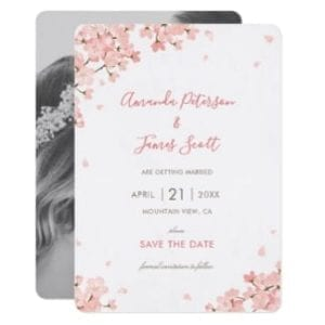 Photo save the date flat card invitation with Japanese cherry blossoms and photo on back