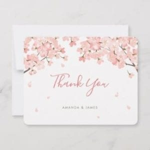 Thank you flat card featuring pink sakura Japanese cherry blossoms and a modern script.