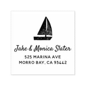 Self-inking return address stamp with simple, rustic sailboat motif