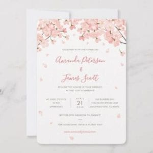 Wedding invitation flat card with pink Japanese sakura cherry blossoms