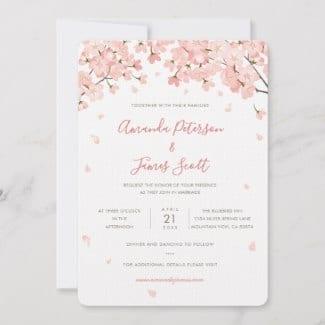 Wedding invitation flat card with pink Japanese sakura cherry blossoms