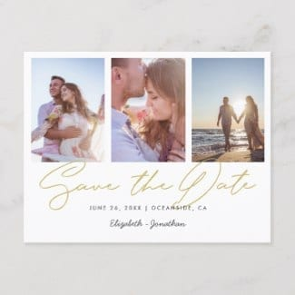 simple modern three photo wedding save the date postcard in gold and white