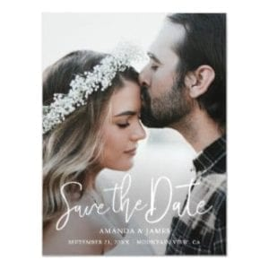 Simple photo save the date magnet with modern typography