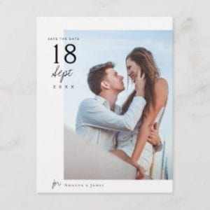 simple modern wedding save the date postcard with photo
