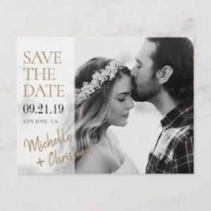 save the date postcard with black and white photo and gold text