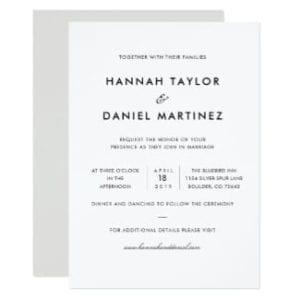 simple, classic, elegant black and white wedding invitation flat card