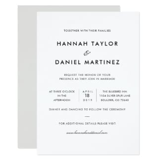 simple, classic, elegant black and white wedding invitation flat card