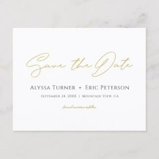 Simple modern gold save the date postcard with typography