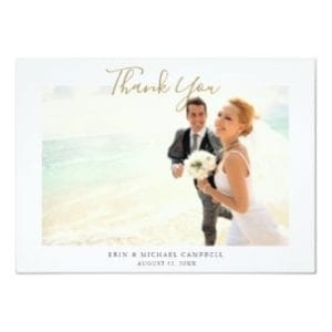 flat wedding thank you card with photo and gold script