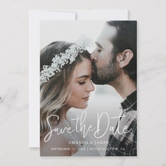 Simple modern photo wedding save the date flat card with white script