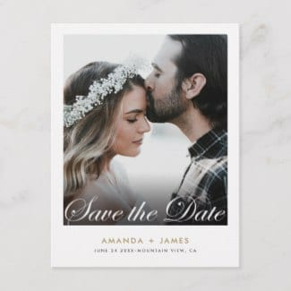 simple modern photo wedding save the date postcard with elegant script
