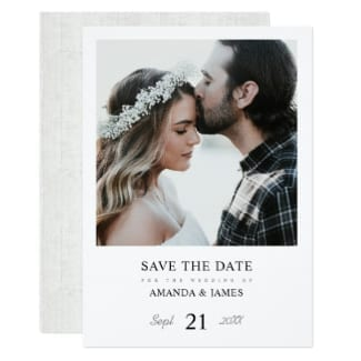 Simple rustic wood photo save the date flat card with white borders