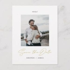 simple modern photo wedding save the date postcard with gold script