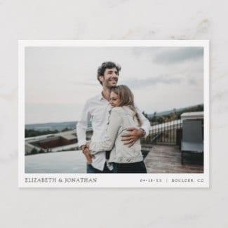 minimalist modern photo wedding save the date postcard with white border