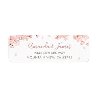 Return address label with pink sakura Japanese cerrry blossoms and a modern script