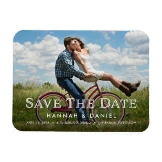 """3"""" x 4"""" wedding save the date horizontal photo fridge magnet with rounded corners and white text"""