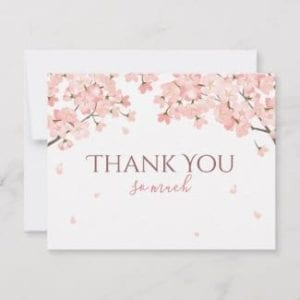 Flat horizontal thank you card with pink Japanese cherry blossoms
