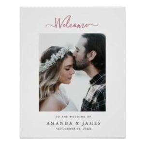 simple modern photo wedding welcome sign with rose gold text