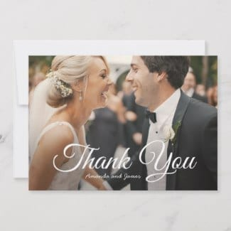 wedding thank you flat card with photo and elegant script in white