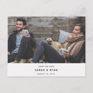 Simple modern horizontal photo save the date postcard