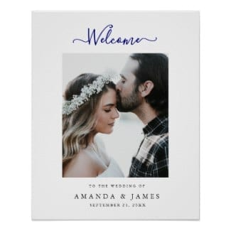 Simple modern wedding welcome sign with photo, white border and navy blue text