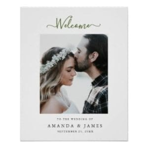 Spring wedding welcome sign with photo and olive green text and white border