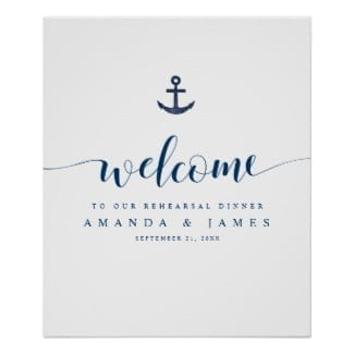 Simple nautical wedding rehearsal dinner welcome sign with rustic blue anchor and whimsical modern script