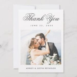 Simple photo wedding thank you flat card with elegant script and white borders