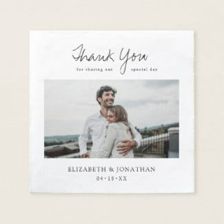 simple modern photo wedding napkin with relaxed script and thank you for sharing our special day message