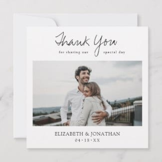 """Square 5.25"""" x 5.25"""" wedding thank you card with photo, thank you for sharing our special day text and simple white border"""