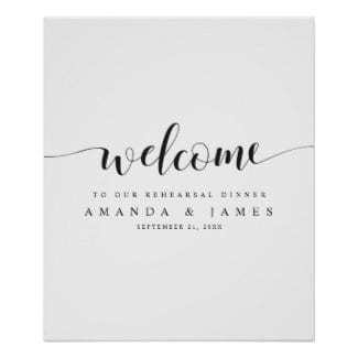 simple modern minimalist black and white wedding rehearsal dinner welcome sign with whimsical script