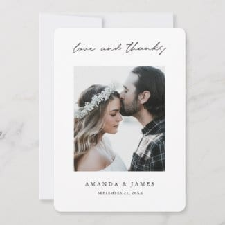 simple modern photo wedding thank you card with love and thanks in black script