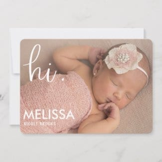 simple modern photo birth announcement card with 'hi' in white script