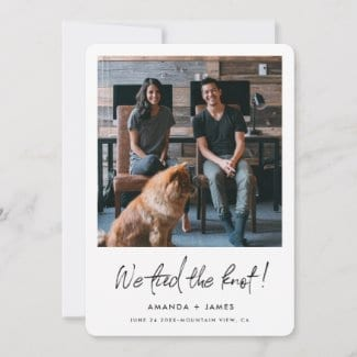 simple modern elopement announcement flat card with photo and white borders and 'we tied the knot!' in black script