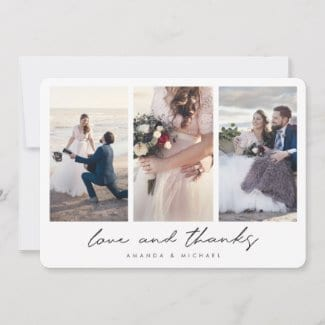 simple modern three photo collage wedding thank you card with love and thanks in black script
