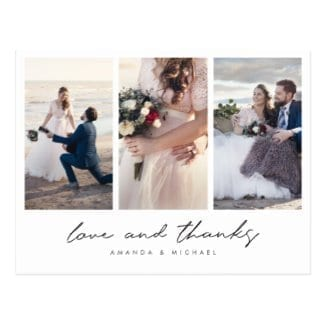 love and thanks three photo collage wedding thank you postcard