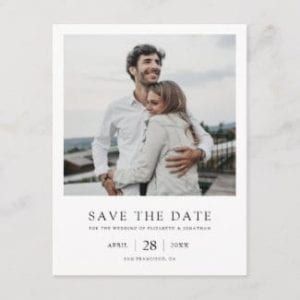 simple modern black and white wedding save the date postcard with photo and borders with a vintage polaroid look